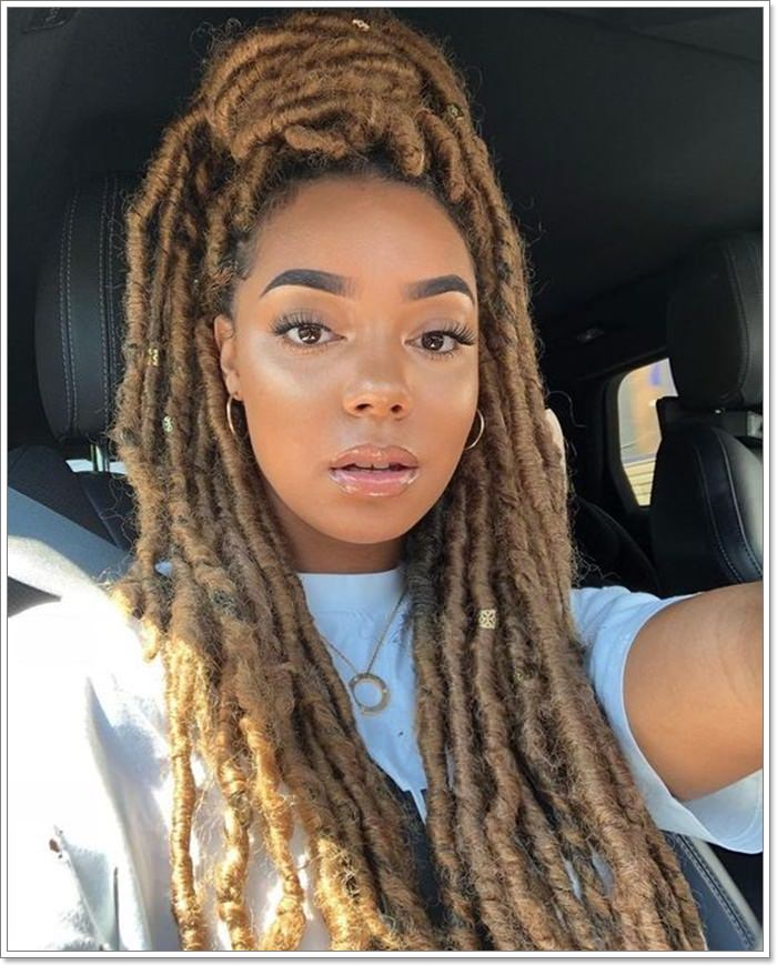 118 Fascinating Faux Locs Hairstyles Styles For 2020